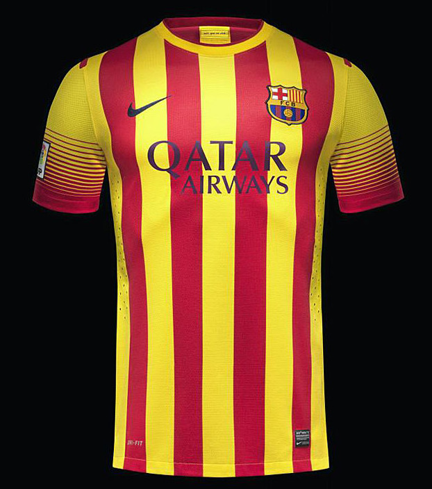Photo maillot fc barcelone 2013 2014 le nouveau for Barcelone maillot exterieur